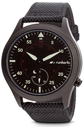 Runtastic Moment ELITE Uhr & Aktivitätstracker (mit Textil/Lederband) Schwarz
