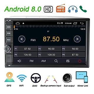 LEXXSON Doppel-Din Autoradio mit GPS Navigation Bluetooth Unterstützt WIFI DAB+ USB/TF/ FM/AM/RDS Radio Tuner/Aux in/Cam-In/Freisprecheinrichtung/Subwoofer, 7 Zoll Touchscreen Android 8.0 Autostereo