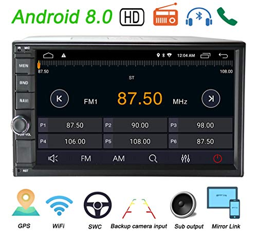 LEXXSON Doppel-Din Autoradio mit GPS Navigation Bluetooth Unterstützt WIFI DAB+ USB/TF/ FM/AM/RDS Radio Tuner/Aux in/Cam-In/Freisprecheinrichtung/Subwoofer, 7 Zoll Touchscreen Android 8.0 Autostereo - Usb Fm Radio