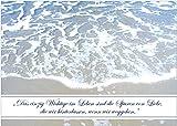 Trauerkarte: Das einzig Wichtige im Leben sind die Spuren von Liebe, die wir hinterlassen, wenn wir weggehen. (Albert Schweitzer) Trauerkarte Kondolenzkarte mit Meer. (Mit Umschlag) (4)
