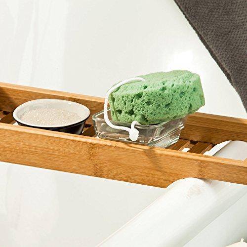 Accessori Per Vasca Da Bagno.Sobuy Ripiano Per Vasca Da Bagno In Bambu Scaffale Da Bagno Set Di