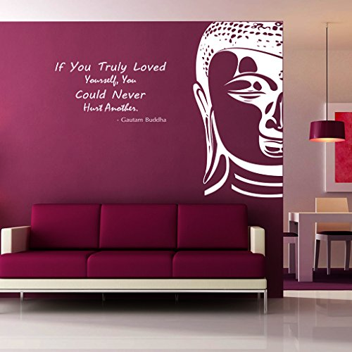 DECOR Kafe Decal Style Buddha Wall Sticker Wall poster (PVC vinyl, 81 X 68 CM)  available at amazon for Rs.569