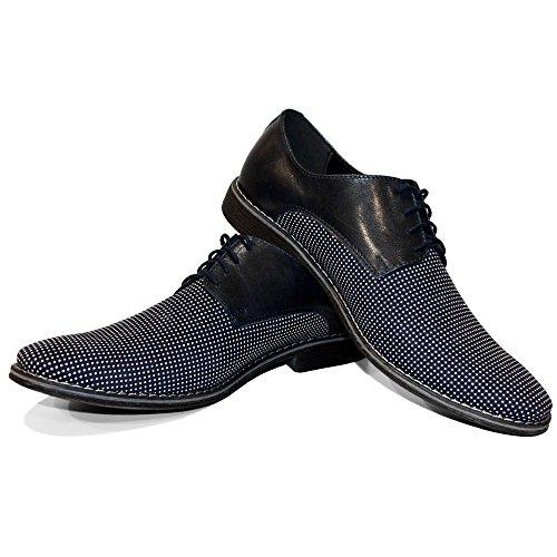 PeppeShoes Modello Croppio - 42 EU - Handgemachtes Italienisch Leder Herren Navy Blau Oxfords Abendschuhe Schnürhalbschuhe - Rindsleder Weiches Leder - Schnüren (Leder Schuhe Handgemachte)