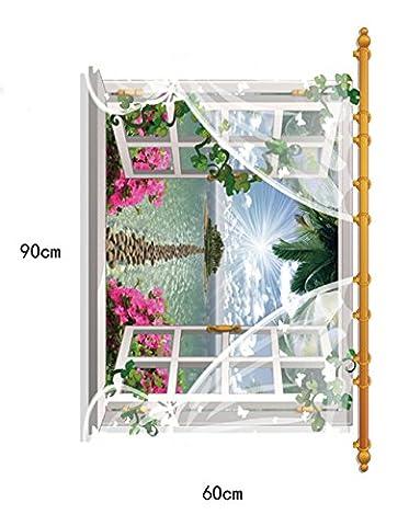 Ufengke® 3D Vue De Fenêtre Île Paysage Stickers Muraux, Salle De Séjour Chambre À Coucher Autocollants Amovibles