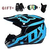 Yedina Jugend Geländewagen Motorcycle MX Motorcycle ATC Scooter Helm D.O.T zertifizierte Geschenkhandschuhe Brille Maske dreiteilige Optionale Größe (S, M, L, XL),L