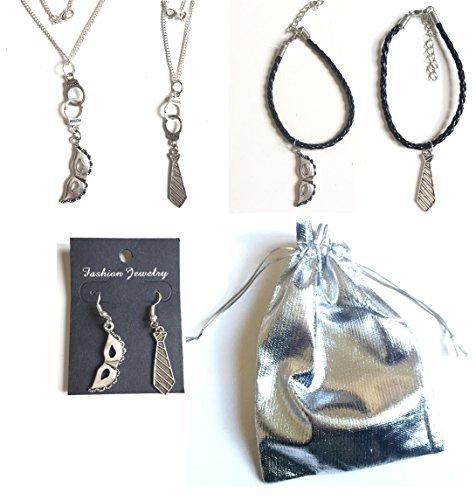 Pochette cadeau spéciale Saint Valentin 50 nuances de Grey 5 bijoux couleurs argent