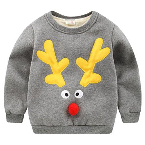 Happy Cherry Jungen Kids Warme Pullover Sweatshirt Oberbekleidung, Beste Geschenk für Jungen zu Weihnachten, Größe 4-5 Empfehlende Körpergröße 100-110cm - Rentier Grau