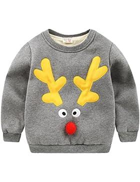 Happy Cherry - Ropa Invierno para Bebés Niños Unisex Sudadera Camiseta Sweatshirt Cuello Redondo Grueso con Terciopelo...