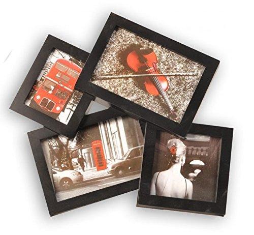 Cadre photo pêle-mêle coloris NOIR capacité 4 photos