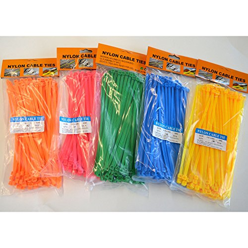 500 Stück Kabelbinder in bunt 4,8 x 200 mm, je 100 Stück in Grün - Blau - Gelb - Orange - Pink (Kabelbinder Farbige)