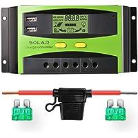 Sunix 30A 12V/24V Controlador de Carga Solar, Carga solar inteligente mejorada con el