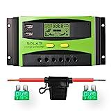 Sunix 30A 12V/24V Controlador de Carga Solar, Carga solar inteligente mejorada con el fusible de batería, 2 pantallas de puerto de USB, Compensación de temperatura de protección de sobrecarga.