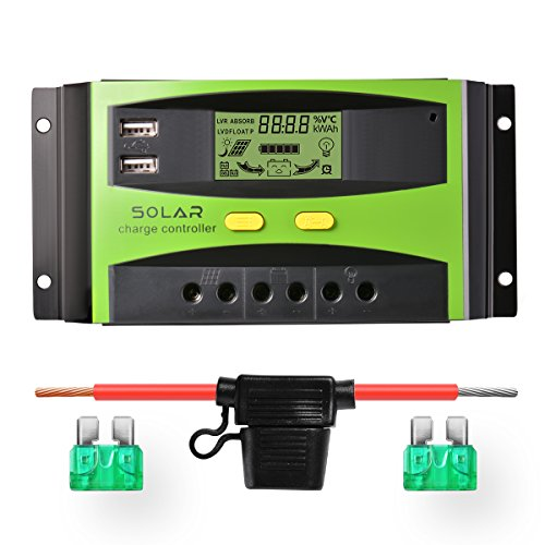 Sunix 30A 12V / 24V Solarladeregler, verbesserter intelligenter Solarladeregler mit Batteriesicherung, 2 USB-Anschlussanzeige, Überlastungsschutz Temperaturkompensation (Solar-panel-überspannungsschutz)