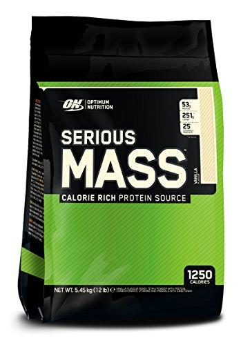 Optimum Nutrition Serious Mass Weight Gainer (mit Kohlenhydrate, Whey Eiweißmischung Pulver, Vitaminen, Kreatin und Glutamin, Protein Shake von ON) Vanilla, 16 Portionen, 5,45kg