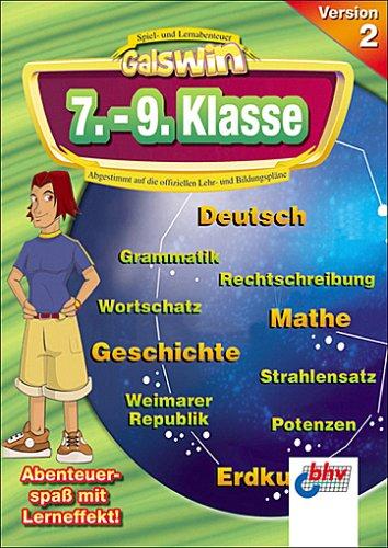 Galswin Version 2, CD-ROMs : 7.-9. Klasse, 3 CD-ROMs Deutsch, Mathematik, Erdkunde, Sozialkunde, Geschichte, Politik. Für Windows 98/Me/XP. Abgestimmt auf d. offiziellen Lehr- u. Bildungspläne. Multilingual: Englisch, Deutsch, Spanisch, Französisch
