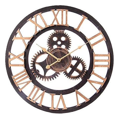 Sucastle Horloge murale européenne, horloge murale en bois, horloge murale, horloge industrielle, horloge murale, horloge murale, horloge murale, horloge murale en bois, décoration, table à suspension 49*5.5*49CM