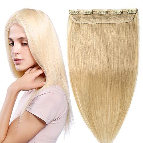 S-noilite 1 ciocca extension capelli veri clip hair naturali 5 clips estensioni fermagli parrucca vera 50cm 613# biondo chiarissimo