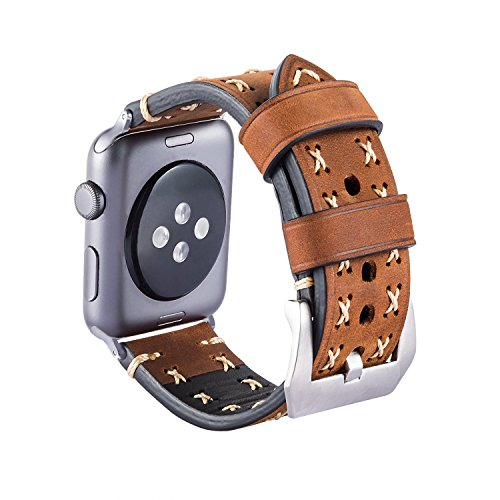 MroTech Armband kompatibel für iWatch 42mm Uhrenarmband 44mm Watch Band Leder Vintage Lederarmband Echtleder Ersatzband für iWatch Sport Edition Serie 1/2 / 3/4 (braun, 42 mm / 44 mm)