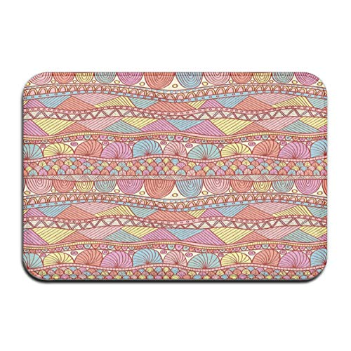 ITSHHMB Water Absorbent Bath Mat Non-Slip Rubber Back Microfiber, Colorful Ethnic Henna Style Asian Pattern Swirls Striped Abstract Hand Drawn Artwork,for Living Room Rugs Bedroom