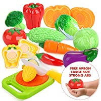 Peradix Play Food Cutting Vegetables Larger Size Set for Kids Pretend Role Play - Plastic Toy Food Kitchen Accessory (with Sticker & Apron)