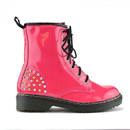 Kick Chaussures de combat rétro pour femme Cheville en dentelle pour femme Style gothique Motif martin Bottines Rosa Runde Stollen L-12085