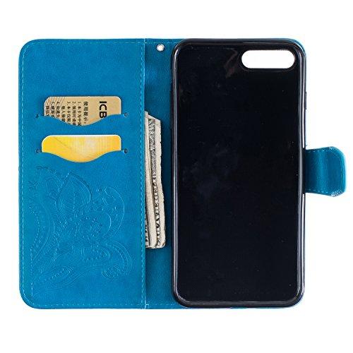TOCASO Cover per Apple iPhone 5 / 5S / SE Custodia in PU Copertura di Ccuoio, Sintetica Ecopelle Pelle Guscio per iPhone 5 / 5S / SE Disegno Fiore Piume di Pavone Protezione Caso Ultra Sottile shell p Blu
