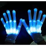 CDELEC 2 Teile / satz Leucht Handschuhe LED Licht Skeleton Handschuhe Weihnachten Musik Festival Bühnenshow Verwenden (Blau)