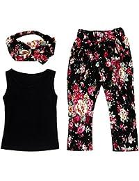SMARTLADY 3 Pc /Set Camiseta Sin Mangas + Pantalones De Flores + Venda Del Pelo