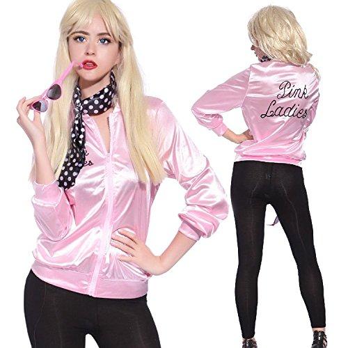 Pink Damen 50er Jahre rosa Satin Fett Jacke mit Hals Schal Frauen Halloween-Kostüm Fancy Kleid Small Original