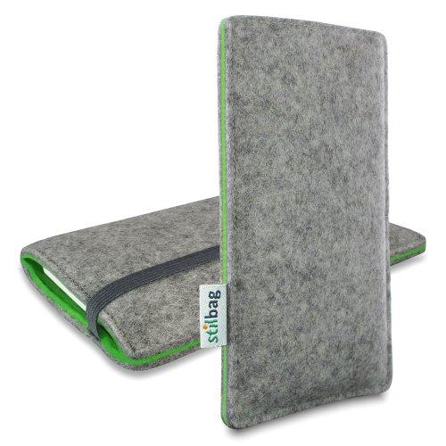 stilbag Filztasche 'Finn' für Motorola Moto G 3.Gen - Farbe: Hellgrau/grün