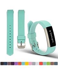 Fitbit pulsera de repuesto de alta Bastidor + free HD protectores de pantalla, ifeeker suave silicona con hebilla de metal correa de diseño reloj banda para Fitbit alta actividad Fitness Tracker (la Tracker no incluido), color blanco