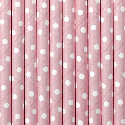 SiDeSo® 10 Stück Trinkhalme Strohhalme (rosa gepunktet)