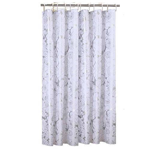 white and silver shower curtain. 72x78Inch Luxry Pattern White Silver Floral Polyester Fabric Shower Curtains  Liners for Bathroom Innovative Design Extra Length Drops Washable Waterproof Curtain Amazon co uk
