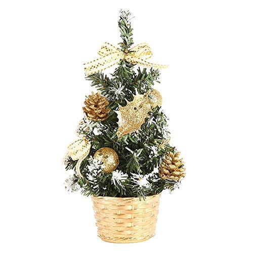 (Gaddrt Weihnachtsbaum Künstliche Tischplatte Mini Weihnachtsbaumschmuck Festival Miniatur Baum 20cm (Gold))