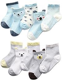 Z-Chen Calcetines de Verano para bebé niño niña (Pack de 10), 0-5 Años