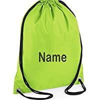 EMBROIDERED Personalised Drawstring GYM Bag Any Name Lime
