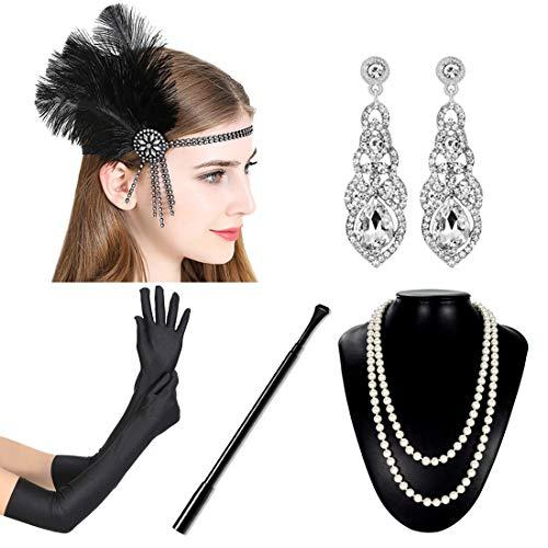 JaosWish 1920er Jahre Zubehör Set Damen Gatsby Stirnband Ohrringe Perlen Halskette Handschuhe Zigarettenspitze Flapper Kostüm Accessoires