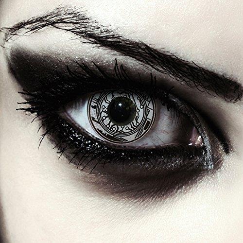"""Weiß schwarze Roboter Kontaktlinsen Farblinsen in schwarz weiß Model: """"Robot"""" + gratis Kontaktlinsenbehälter (innerhalb Dt.)"""