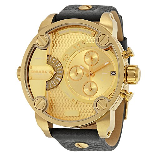 Diesel Men's Quartz Watch with Yellow Dial Analogue Display and Black Leather Bracelet DZ7363