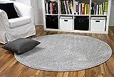Hochflor Velours Teppich Mona Silbergrau Rund in 7 Größen