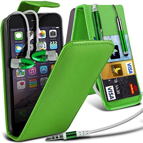Aventus ( Red ) Apple iPhone 6S Plus Case Custom Made magnétique Housse en cuir flip Avec la couverture de peau Card Slot Case + Film de protection écran avec Chiffon, écran tactile Stylet & aluminium Leather Flip + Earphone ( Green )