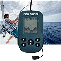 Ju-sheng Equipo de Pesca 200KHz Sonar Sensor 0.7-100m Profundidad Cableado Sounder Alarma Buscador de Peces con Pantalla LCD