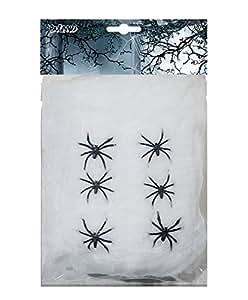 Boland 74416 - Deko Spinnengewebe weiß mit 6 Spinnen