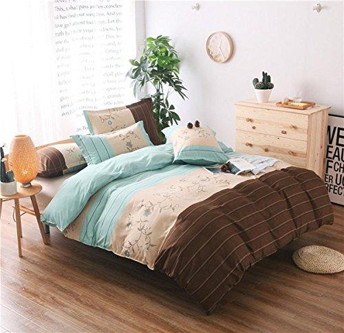 BEIZI Streifen Polyester bettwäsche Schlafzimmer einfache flachblech Nicht verblassen Duvet Set einzigen königin größe 3 stücke 1 bettbezug 1 bettwäsche 2 Kissenbezüge, 200x230cm - Urban Duvet-set