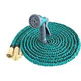 KDGWD Pistola de RiegoTubo de manguera de jardín ligero expansible se expande hasta 3x de longitud en uso y los contratos de regreso para el almacenamiento multifuncional pistola de agua de alta presión pistola 50 FT (luz azul)