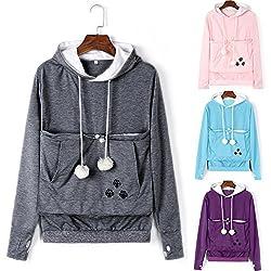 Weant Women Crop Hoodies Jumper Pet Dog Cat Holder Carrier Large Pocket Pullover Sweatshirt Loose Casual Blouse Plus Size Top