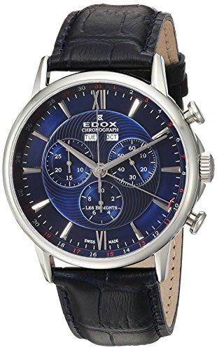 Edox Orologio Cronografo Quarzo Uomo con Cinturino in Pelle 10501-3-BUIN