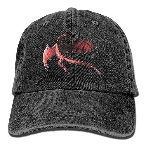 Men&Women Dragon Red Adjustable Vintage Washed Denim Cotton Dad Hat Baseball Hat Natural -