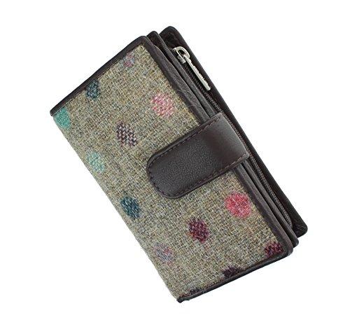 Mala Leder Abertweed Kollektion Leder & Tweed Geldbörse mit Tab Verschluss 3124_ 40, Brown Spot (Braun) - 3124_40 (Bill Große Klappe)