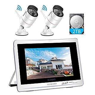 1080P Überwachungskamera Set mit 12 Zoll Monitor 2X Überwachungskamera Aussen WLAN, YESKAMO Videoüberwachung NVR Funk Überwachungssystem mit 2TB Festplatte, 30m Nachtsicht, Bewegungserkennung